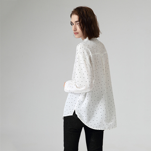 Image 4 - Toyouth chemisier et chemises en mousseline de soie à pois, col rabattu, manches longues pour femmes, automne décontracté