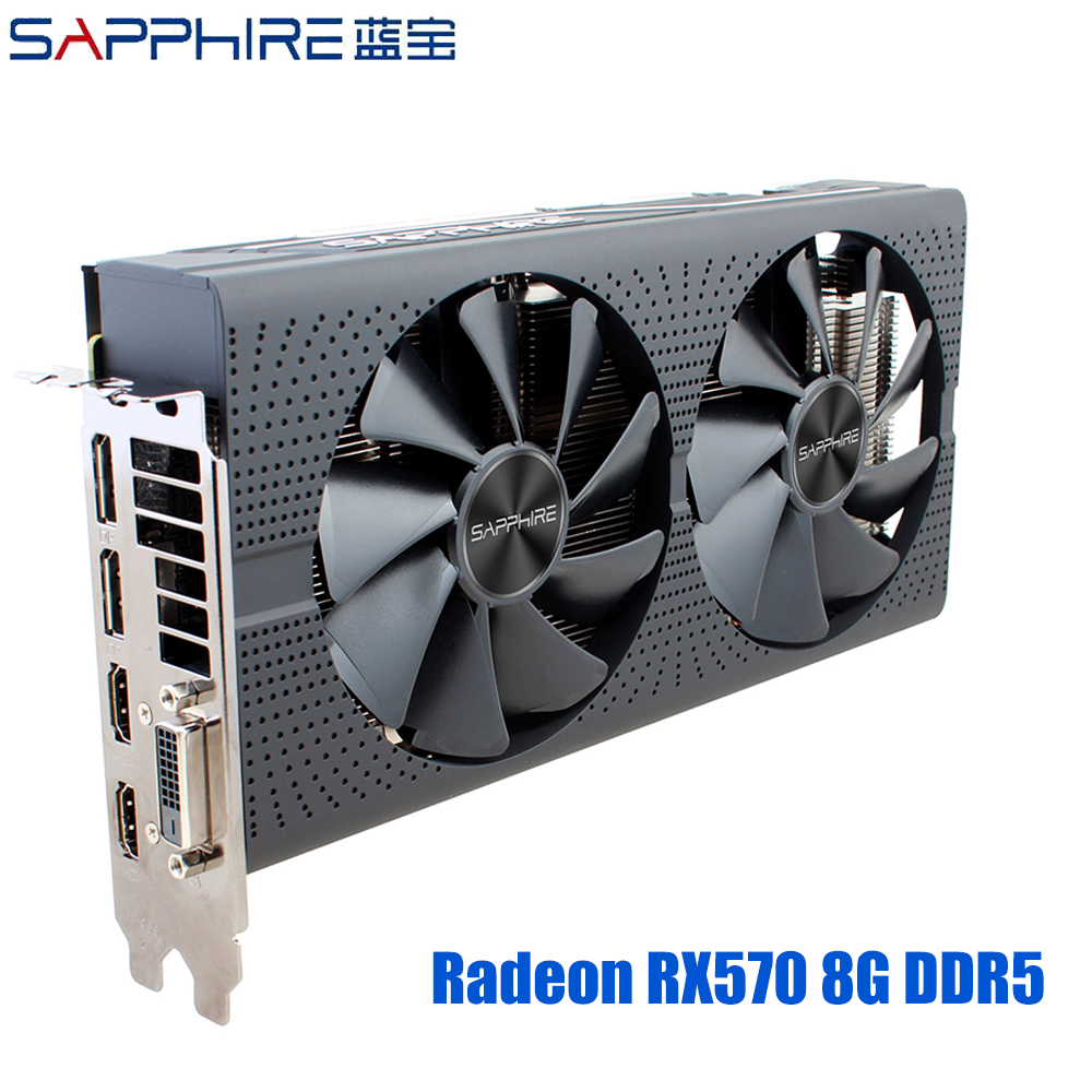 SAPPHIRE AMD Radeon RX 570 8GB Graphics Cards RX570 Gaming PC Video Card GDDR5 256bit PCI Express 3.0 Desktop For PC Used Cards image