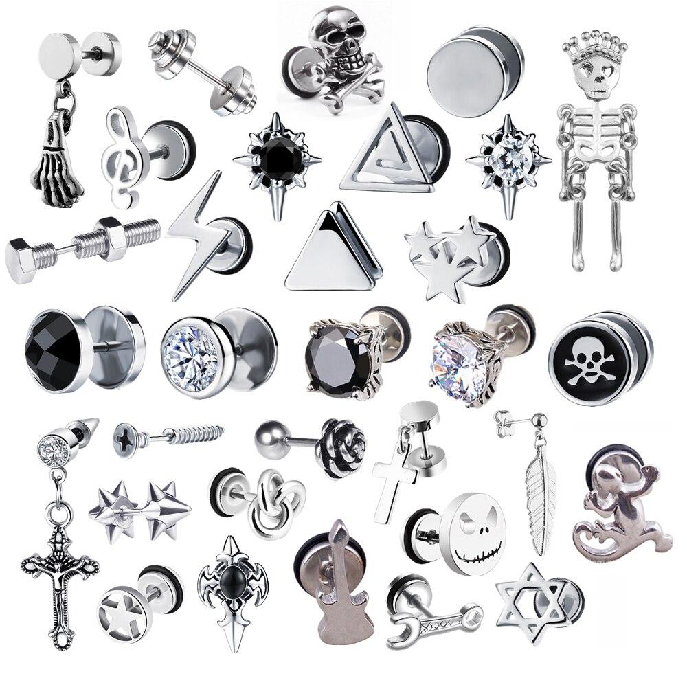 2021 в стиле «панк» из хирургической Сталь Для женщин мужские маленькие серьги-гвоздики в готическом стиле, в виде геометрических фигур Скеле...