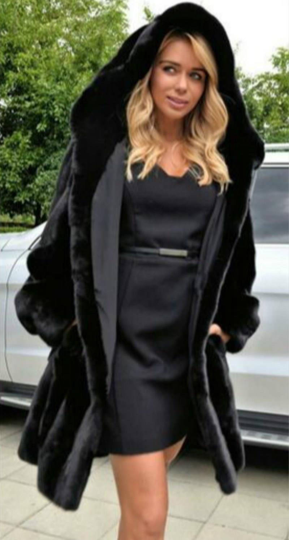 Long Faux Fur Coat Women's 2019 Autumn Winter New Coats Women's Hot Black Plus Size Plush Teddy Coat Warm Fur Jacket