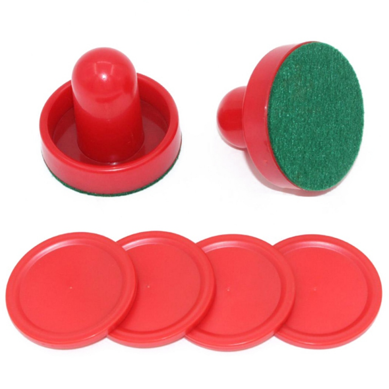 8pcs/set Red Hockey Equipment Tables Table Game Plastic Air Hockey Pushers Puck Game Tables Goalies Accessories