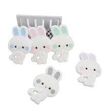 Chenkai 10 шт. BPA бесплатно силиконовые Грызунок «кролик» милые животные Catrtoon кролик Прорезыватели Для DIY кормящих сосок клип пустышки цепи