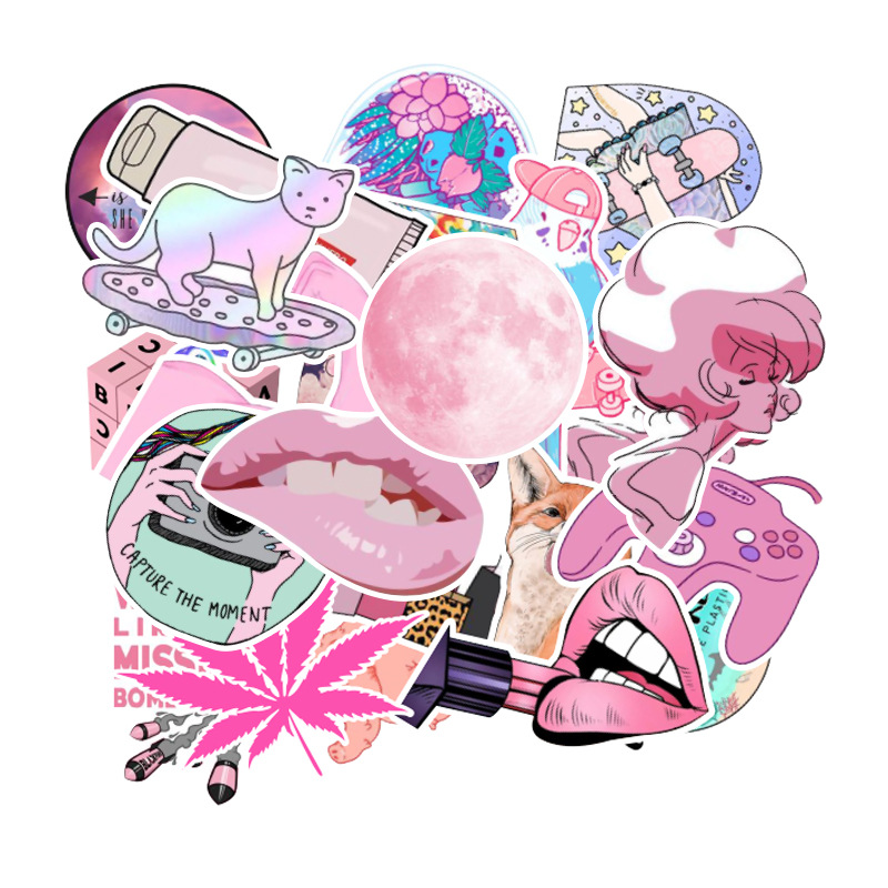 50PCS/lot Cartoon Pink INS Style Girl Stickers For Laptop Moto Skateboard Luggage Notebook Laptop Decal Toy Sticker  F3