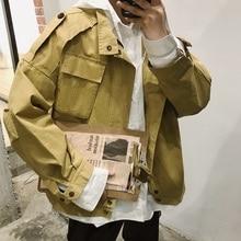 Autumn New Jacket Men Fashion Solid Color Casual Big Pocket Tooling Ja