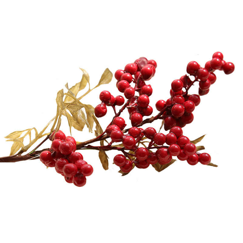 1 pçs simulação de feijão de baga de natal flor de feijão de espuma artificial frutas de natal vermelho baga de inverno flor de feijão de casamento decoração de casa