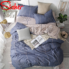 Sisher Nordic Duvet Cover Blue Plant Leaf Printed Bedding Set Geometric Plaid Stripe Double Size Single Queen King bedclothes