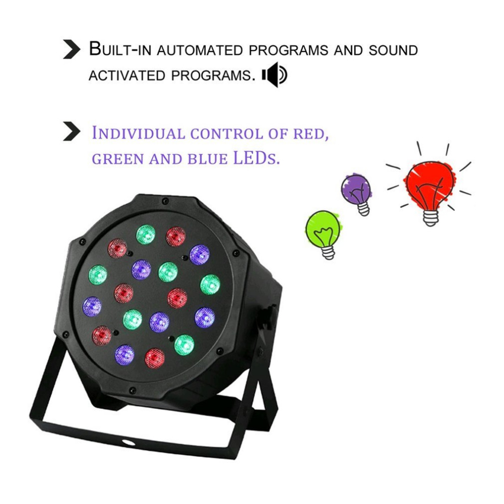 18W 18LED Professional RGB Mixing Colors Stage Light 6 Channel Home Wedding Party DJ Club Light Equipment With Fan