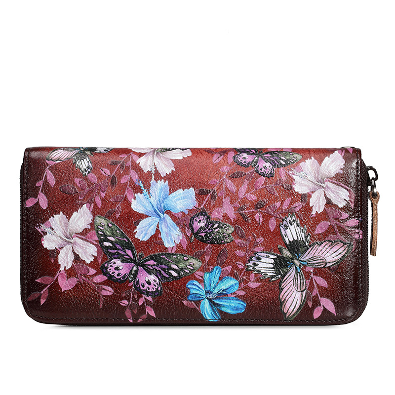Women Genuine Leather Bag Cowhide Hand Painting Butterfly Flower Vintage Wallet Card Money Holder Clutch Purse Long Wallets