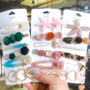 6pcs Hair Accessories for Women Acrylic Hair Clip Pins Set Big Crystal Pearl Starfish Geometric Gold Headwear Girl Barrette 2020