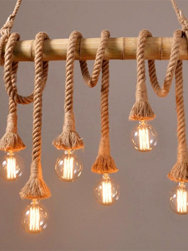 Wood-Lamp Rope Loft-Lights Decor Hemp Kitchen Vintage Personality for Cafe-Bar