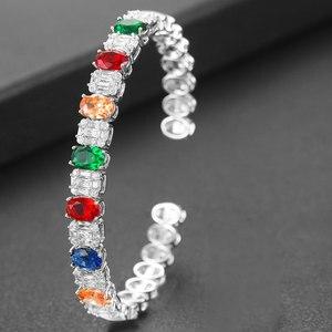 Image 3 - GODKI Trendy Luxury Stackable Bangle Cuff For Women Wedding Full Cubic Zircon Crystal CZ Dubai Bracelet Party Jewelry2019