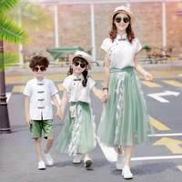 Family Matching Clothes Summer 2019 Han Fu Mother Father and Daughter Son Costume Parent and Kids Cute Sweet Girls Skirt Sets