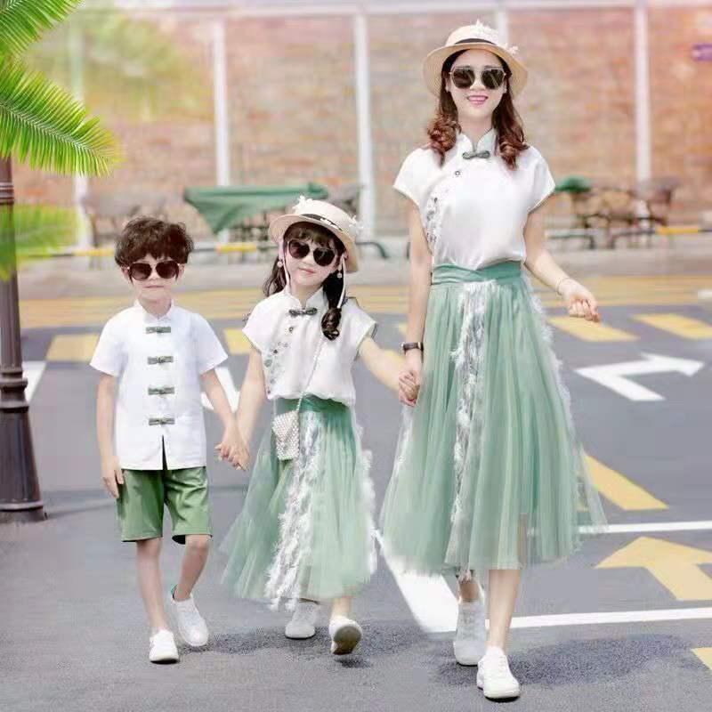 Famille correspondant vêtements été 2019 Han Fu mère père et fille fils Costume Parent et enfants mignon doux filles jupe ensembles