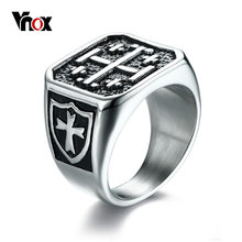 Vnox Punk The Cross of Jerusalem Men Ring Shield Pattern Male Hip-hop Cool High Quality Stainless Steel Jewelry(China)