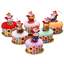 1pcs Christmas Towel Drum Cute Cake Shape Creative Washcloth Xmas Gift Party Supplies for Kids Baby Shower Children A30(China)