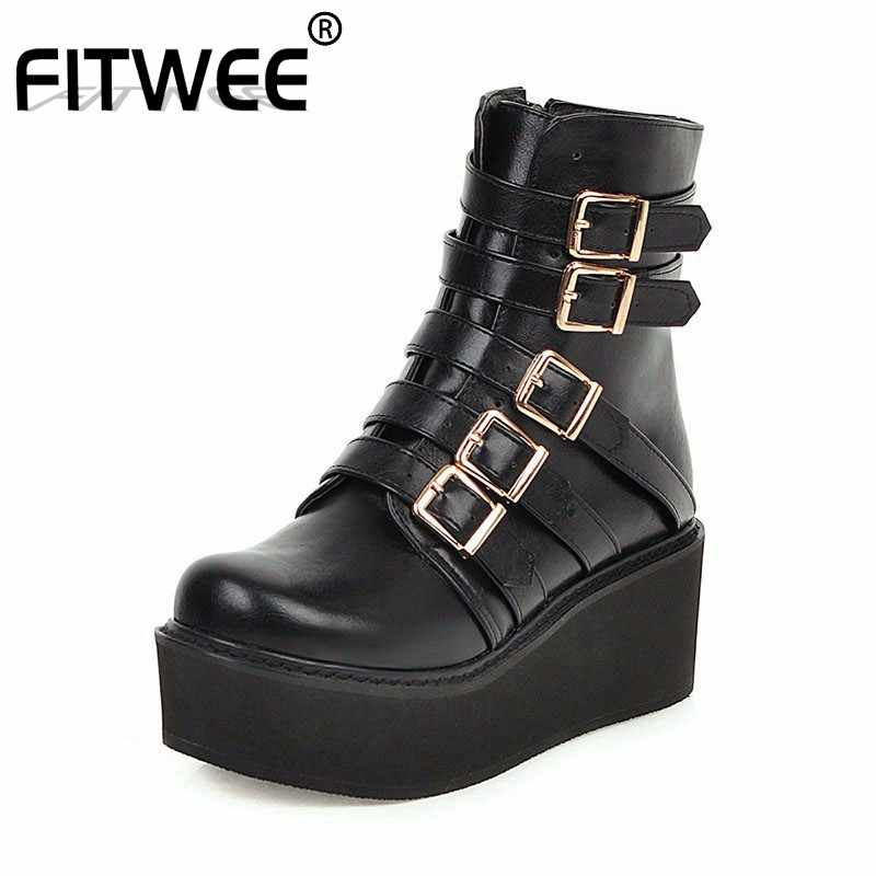 FITWEE Gothic Ankle Boots Women Plus