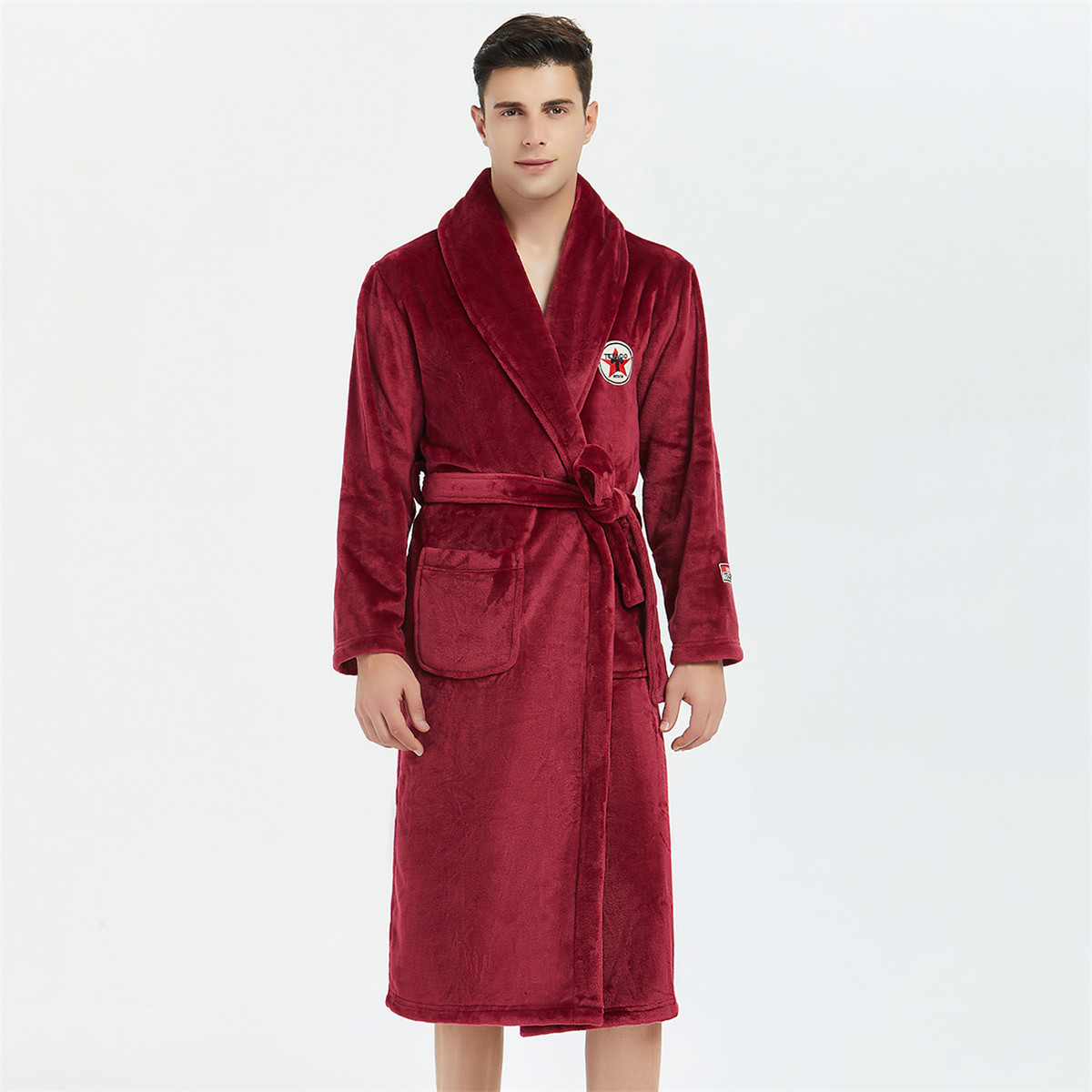 Coral Fleece Men Kimono Robe Flannel Sleepwear Nightgown Short Home Clothing Burgundy Nightwear Home Wear Winter Warm Bathrobe