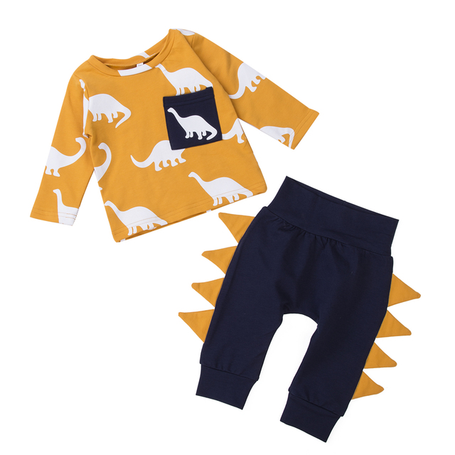 Infant Toddler Baby Boys Kids Casual Soft Lovely Dinosaur Long Sleeve T-shirt Tops + Trousers Pants Outfits Clothes Suit Set 2