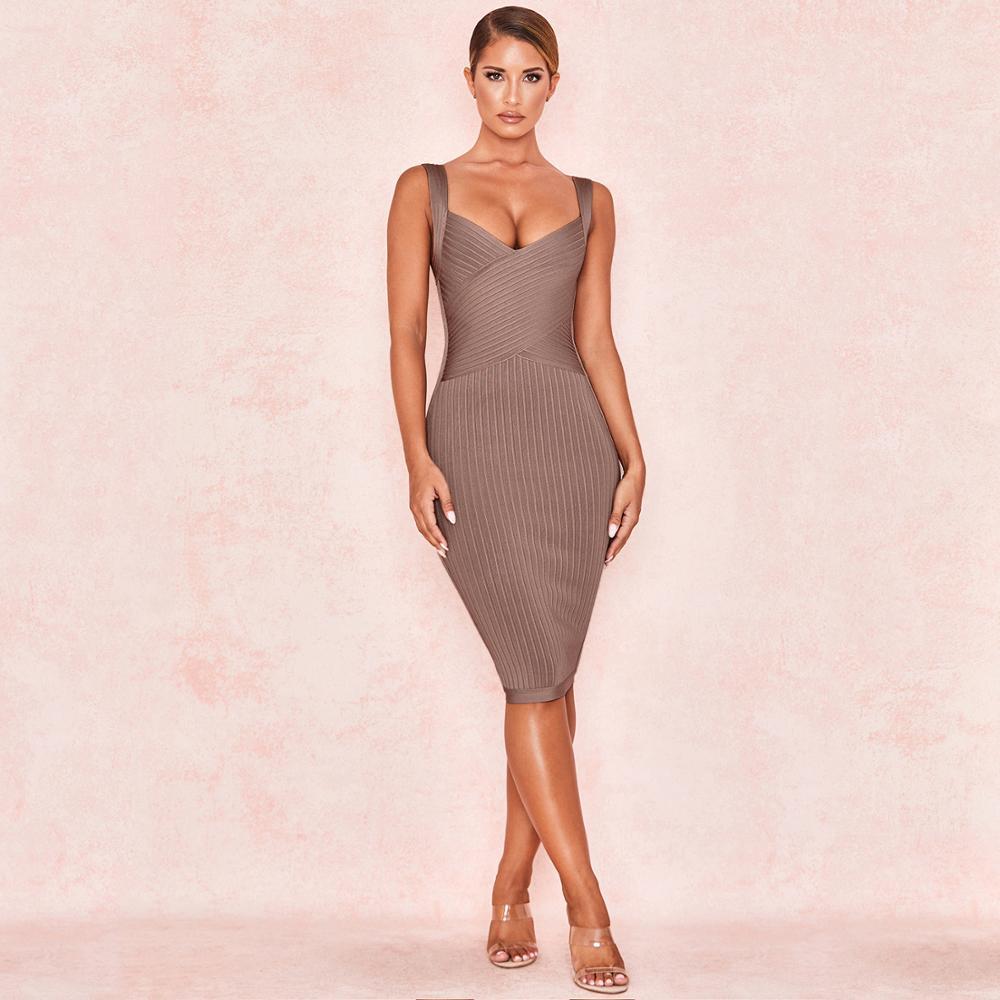 2019 hiver nouveau Sexy Spaghetti sangle verticale rayé moulante Bandage robe brun célébrité parti Club robe longueur du genou