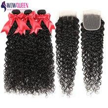 WowQueen – mèches péruviennes Remy ondulées, 100% cheveux naturels, avec Closure 5x5 6x6