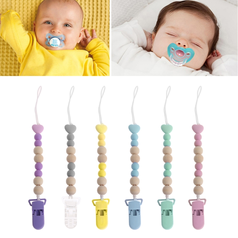 Grânulo de madeira manequim clipe titular chupeta clipes chupeta chains bebê brinquedo dentição e06f