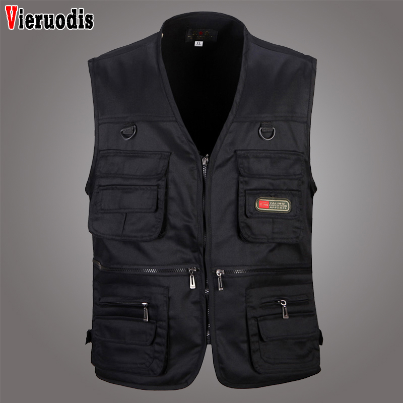 Summer New Male Casual Multi Pocket 4 Colors Vest Men Photographer Shooting Outerwear Zipper Waistcoat Sleeveless Solid Jacket