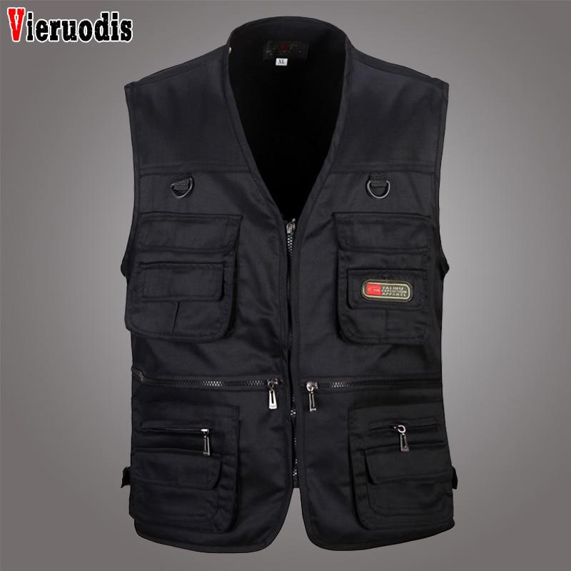 Summer New Male Casual Multi Pocket 4 Colors Vest Men Photographer Shooting Outerwear Zipper Waistcoat Sleeveless Solid Jacket