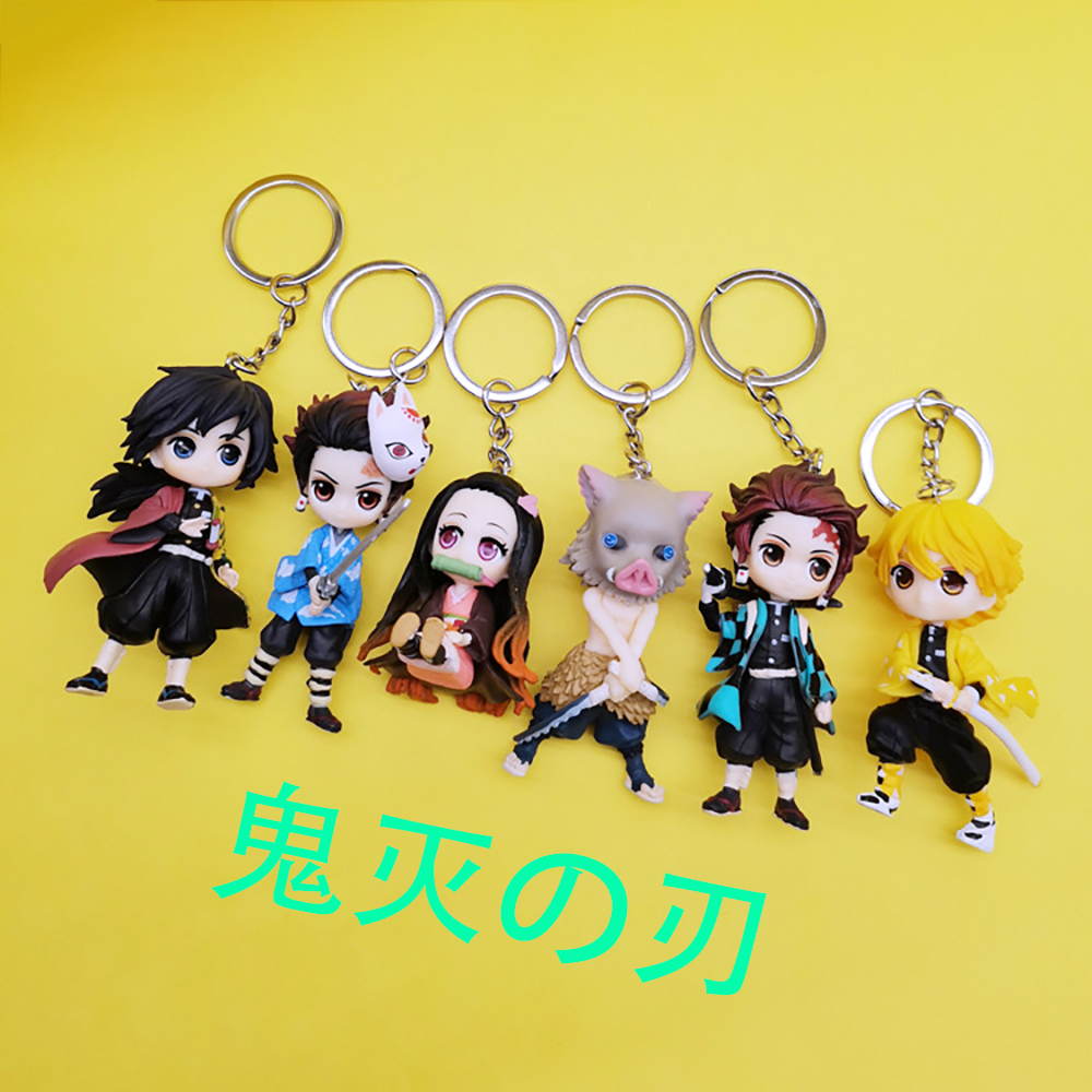 Anime Demon Slayer Acrylic Keychain  Brinco Blade Of Ghost Key Chain Kamado Tanjirou Cosplay Pompom Yaiba Keyring Pendant  Gift