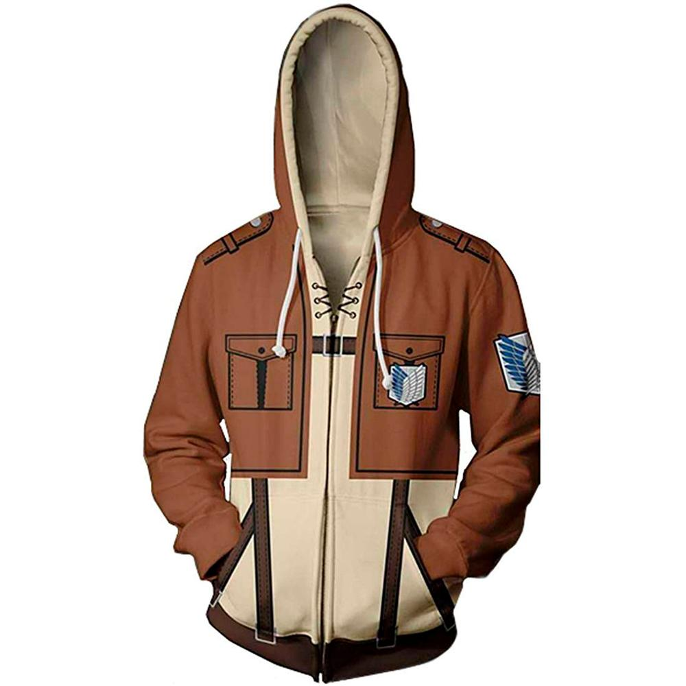 Anime Attack On Titan 3D Printed hoodie jacket Shingeki no Kyojin Legion Eren cosplay costume Sweatshirts Unisex Zipper Hoodies