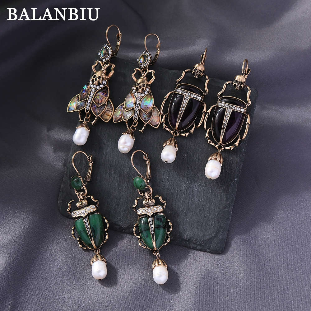 BALANBIU Vintage Beetle Drop Earrings For Women Dark Color Resin Insect Cultured Pearl Crystal Punk Skeleton New Fashion Jewelry