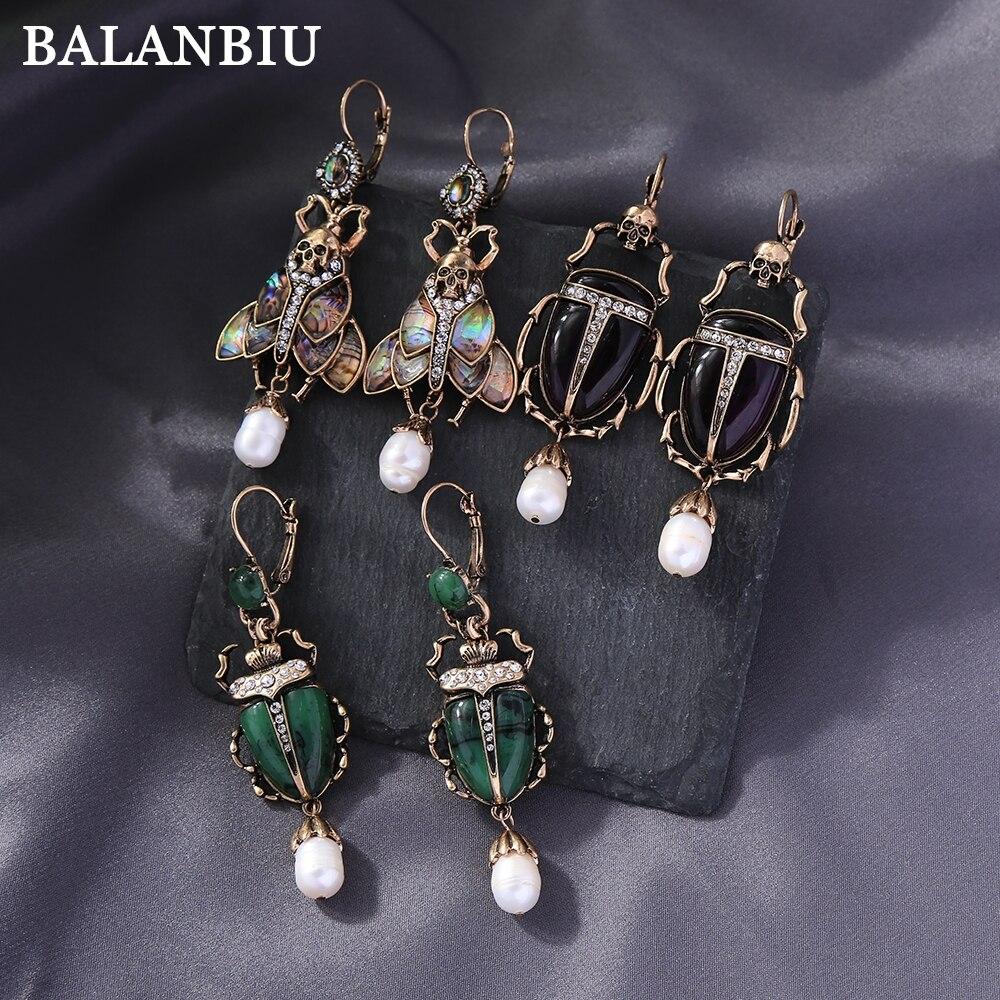 Balanbiu besouro do vintage brincos de gota para mulher cor escura resina inseto cultivado pérola cristal punk esqueleto nova moda jóias
