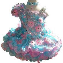 Новинка года; пышные платья-пачки для маленьких девочек с украшением в виде кристаллов и цветов; платья подружки невесты для маленьких девочек