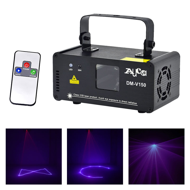 AUCD Mini IR Remote Control 150mW Purple Beam Scan Projector Laser Lights 8 CH DMX Disco DJ Home Party Show Stage Lighting V150