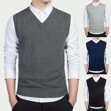 Autumn Winter Mens Sweater Vest Pullover Soft Solid Color Casual V Neck Knitted Sweater Men Sleeveless Vest Coat chaleco hombre