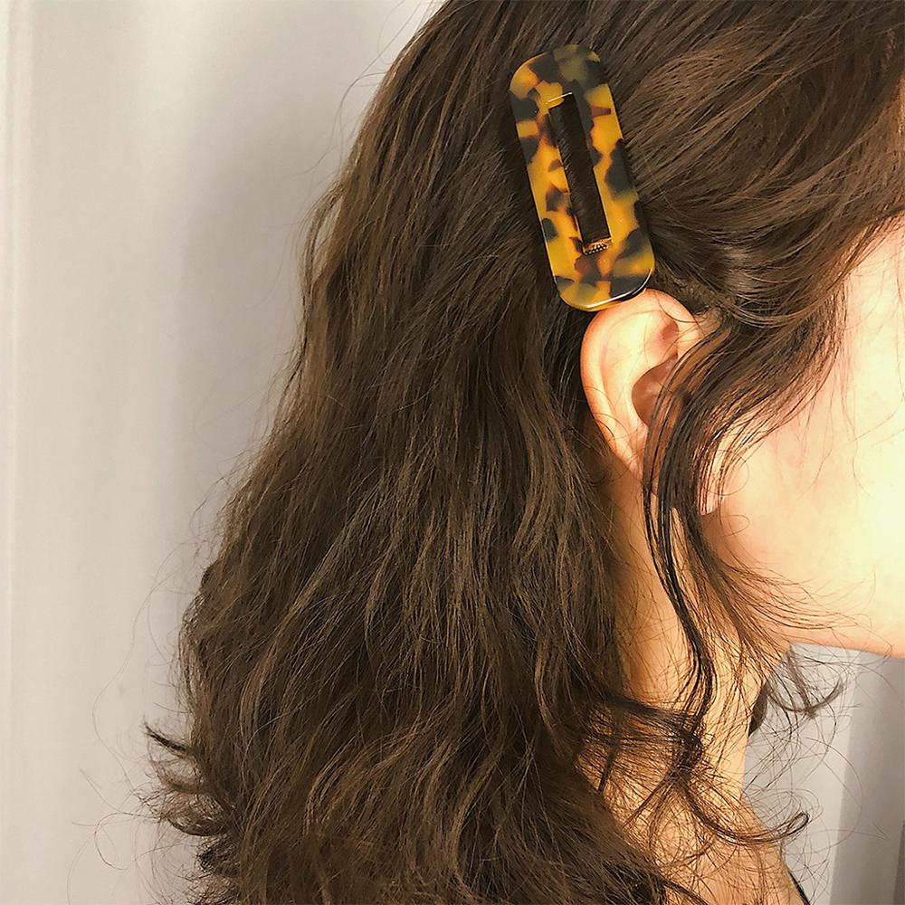 Simple Geometry Hairpin Hollow Leopard Mark Hair Clip Accessories Female Retro Sweet Headpieces Acetic Acid Square C