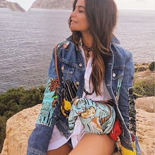YAMDI female boho jean jacket autumn wintage cartoon pattern qppliques Embroider