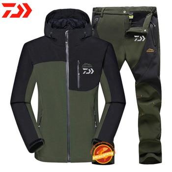 Man Winter Waterproof Fishing Clothes Warm Softshell Fleece Hiking Fishing Clothing Outdoor Trekking Fishing Jacket Set Pants