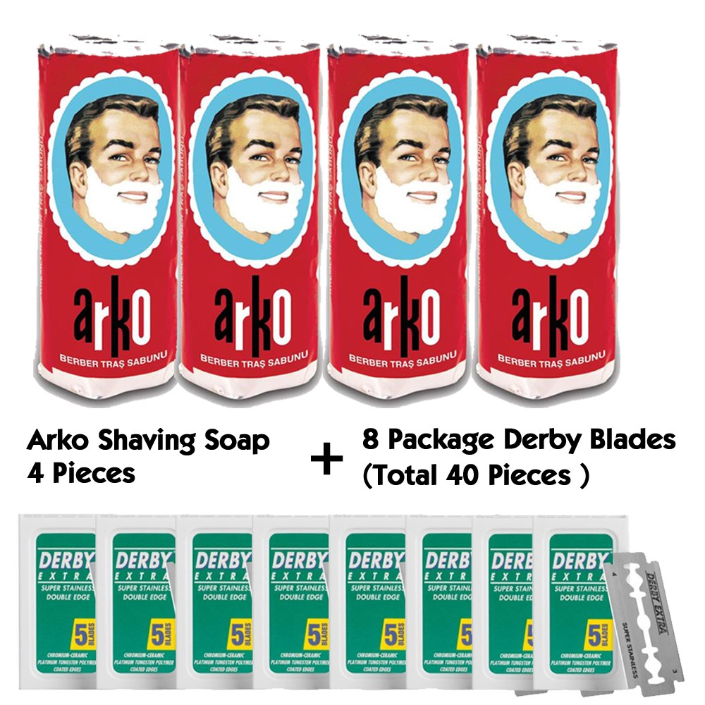 Arko Shaving Soap Derby Razor Blade Straight Razor Shaving Blade Shaving Cream Safety Razor Shaving Bowl Straight Edge Razor