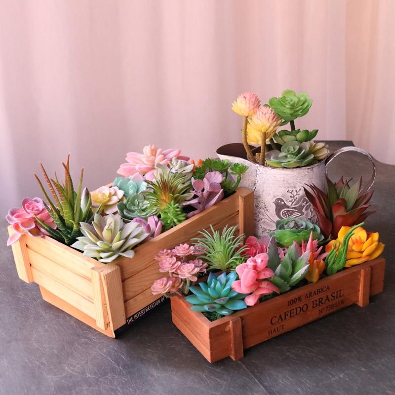 Различные зеленые, розовые, красные, синие, фиолетовые флокированные Искусственные суккуленты, растения для рабочего стола, спальни, дома, с...