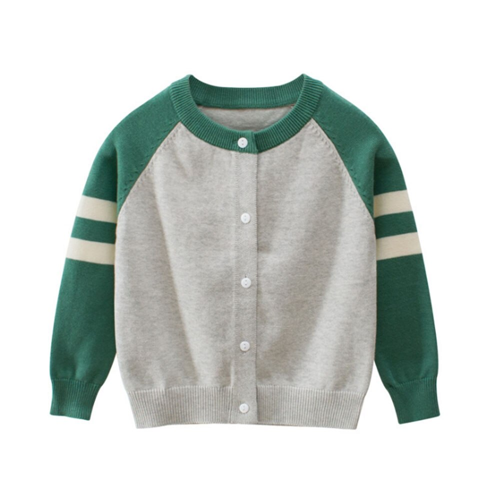 Oeak Autumn Winter Kids Striped Sweater Top Children Knitted Cardigan Sweater Baseball Coat Toddler Jacket Outerwear Clothes 6