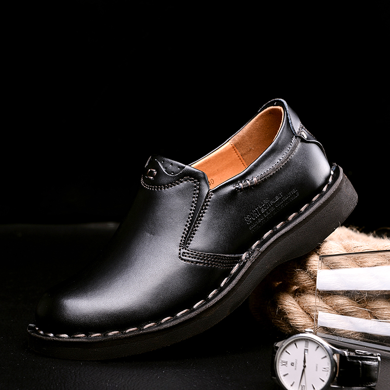 Genuine Leather Men's Business Leisure Shoes British Handmade Sewing Comfortable Driving Shoes Anti-skid Men's Loafer Shoes