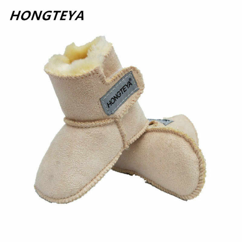 2019 winter baby snow boots infants warm shoes Faux fur girls baby booties Leather boy baby toddler boots High-top