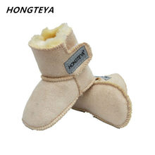 2019 winter baby snow boots infants warm shoes Faux fur girls baby booties Leather boy baby toddler boots High-top(China)