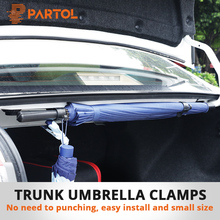 Partol 2 adet/paket Araba Gövde Şemsiye Braketi Tutma Klipler Otomobil Gövde Organizatör Şemsiye asma kancaları Seyahat için