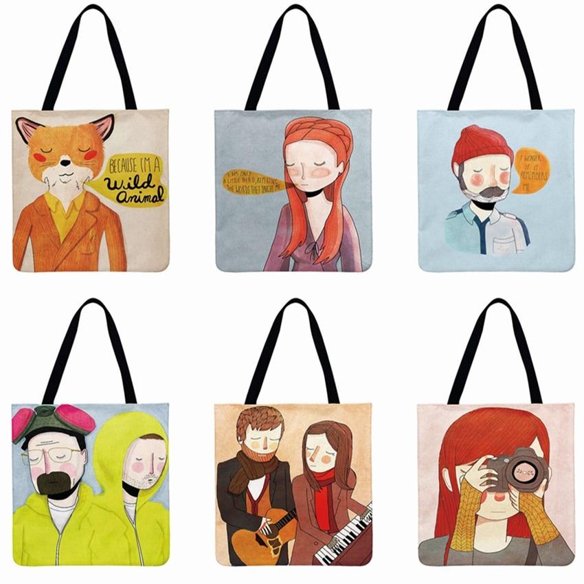 Fresh Character Illustrations Printed Tote Bag For Women Foldable Shopping Bag Nordic Art Shoulder Bag Reusable Beach Bag