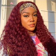 Preferred Red Curly Headband Wig Full Machine Made No Glue No Gel Brazilian Remy Highlight Water Wave Human Hair Wigs For Women
