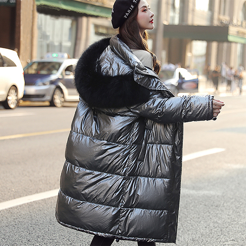 Casual Sexy Glossy Long Down Coat Women Winter Fashion Reflective Hooded Thick Warm Down Jacket Ladies Korean Big Size Outerwear