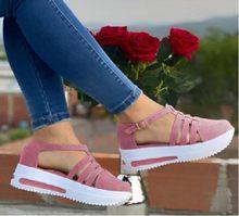 2021 Summer Wedges Shoes for Women Open Toe Beach Female Sandals Multicolor Slingback Sandals Platform Ladies Sandals Plus Size