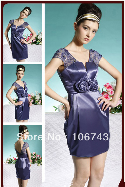 Free Shipping 2016 New Design Vestido De Renda Formal Sexy Purple Short Lace Elegant Party Gown Mother Of The Bride Dresses