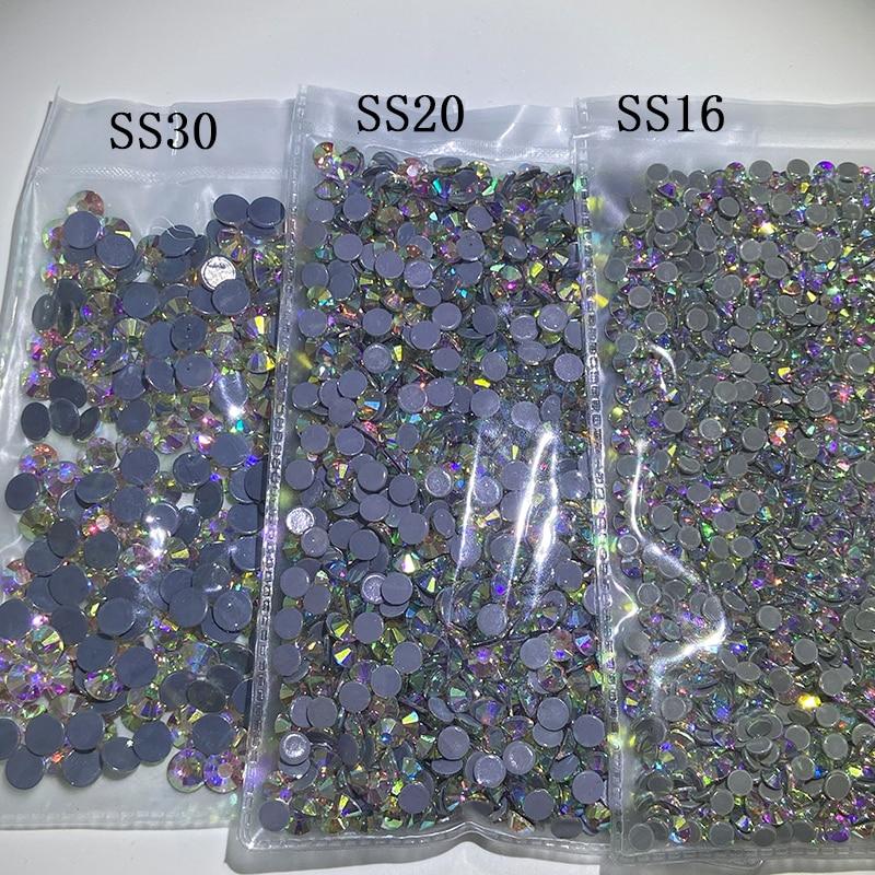 Crystal AB SS16-SS30 1440/288 pcs DMC Hot Fix Rhinestone Crystal Flatback Loose Strass Rhinestone for clothes bags accessaries